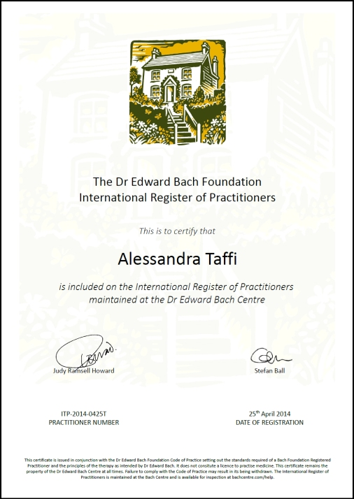 attestato bach foundation alessandra taffi